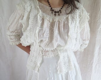 "Victorian Cotton Gown with Embroidery and Lace Antique Long Dress Circa Early 1900's Size 27"" Waist"