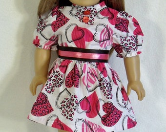 American Made 18 inch Doll Valentine Dress in Animal Print & Shoes