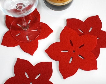 Flower Coasters for Drinks Felt Drink Coaster Set Hostess Gift for her Mom Beach House Decor Party Pretty Colorful Red