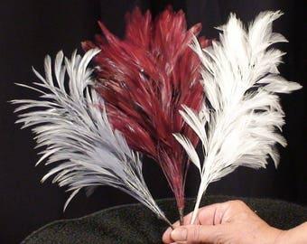 Wired Feather Hat Decoration, Lush Wand for Costume, Fantasy Feathers, Handmade Wired Mount, LONG 10 Inches, 1960s, Pick White or Blue Gray
