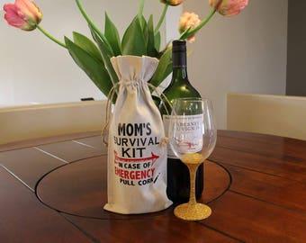 Muslin wine bag with handmade design