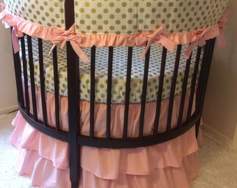 Round Crib Bedding Set Blush Pink and Gold Ruffled Set Bumperless