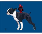Boston Terrier Spiderman Print Pet Portrait Dog Print Digital Painting  Nursery Decor Art Animal Wall Decor Home Decor Poster Christmas Gift