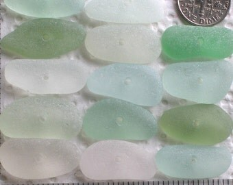 14 Sea Glass Sticks Beads Centre Drilled 1.8mm holes Jewellery Quality Supplies (1961)