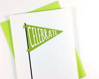 Celebration Card, Congratulations Greeting Card, Birthday Card, All Occasion Card, Single Card, Blank Card, Green Banner Flag Card