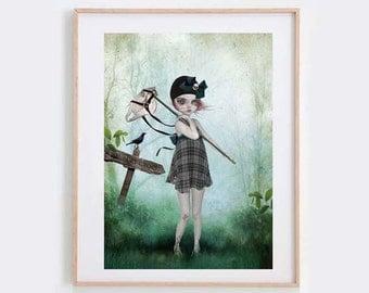 Big Eyed Art Print - Banbury Cross - Wall decor - Nursery Crime Print