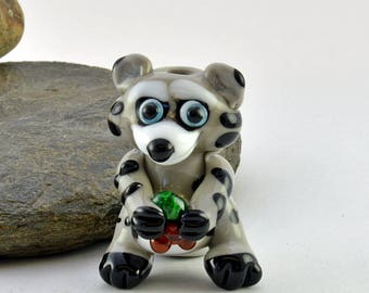RACCOON Roger Glass Sculpture Collectible, Focal Bead, Izzybeads SRA