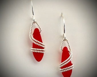 Red Classic Earrings in Rope