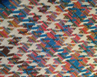 Blue, Mauve, and Brown Hound's Tooth Print Double Knit Polyester Fabric 1.66 Yards