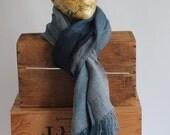 Vintage Baby Alpaca Blue Grey Black Scarf Shawl Wrap Peru Large