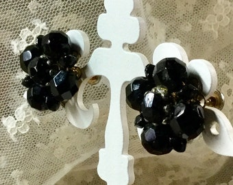 Jet Black Crystal Bead Cluster Earrings Screwback Unsigned Silver Tone Findings 1940's Feminine Evening Wear