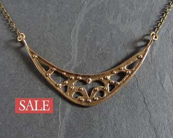 SALE - 50% off / Cast bronze crescent shaped statement necklace / medieval necklace / ancient jewelry / boho necklace / artisan jewelry