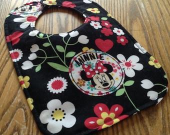 Minnie Mouse Reversible Baby Bib, Black, White, Triple Layer, Snap Closure, ready to ship