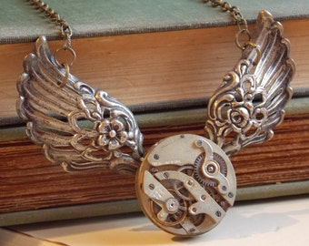 Large Steampunk Necklace Wings Watch Movement Large Pendant Victorian Jewelry