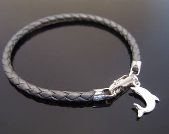 3mm Metallic Grey Braided Leather Bracelet With 925 Sterling Silver Dolphin Charm