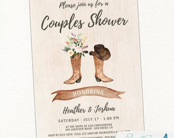 Cowboy Boot Rustic Bridal Shower Invitation - Couples Bridal Shower - Country, Western, Boho Chic, Printable or Printed