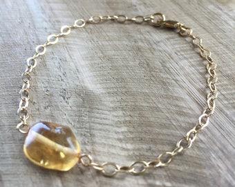 Citrine Yellow Goldfill Chain Bracelet - 7 inch