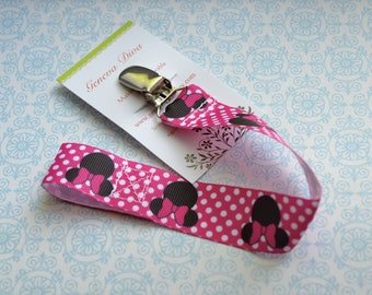 Hot Pink Minnie Pacifier Clip
