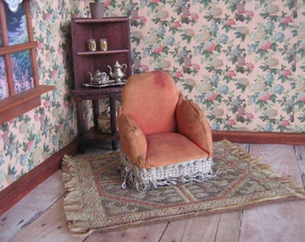 """Vintage Dollhouse Furniture- Upholstered Boudoir or Side Chair - 3/4"""" Scale"""