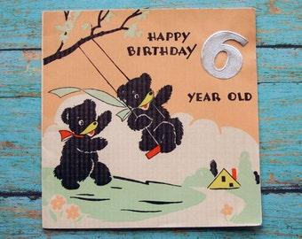Vintage 6 Year Old Birthday Greeting Card 1930's Bear Swinging