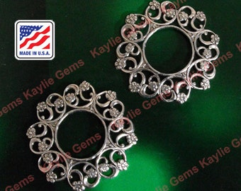 Brass Filigree Stamping Oxidized Antique Silver Premium Quality Made in USA  G6755AS - 2pcs