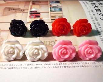 SALE - Rose Flower Stud Earrings