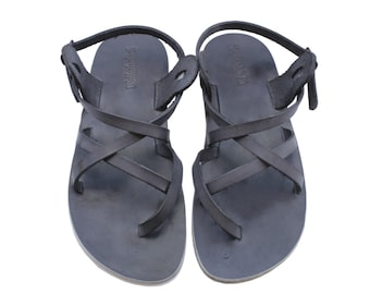 New - Gray Triple Leather Sandals For Men & Women - Handmade Sandals, Leather Flats, Leather Flip Flops, Unisex Sandals, Brown Sandals