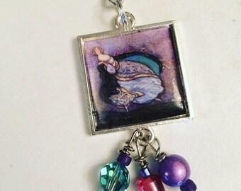 Cinderella Scissor Fob. Handmade by TheThreadGatherer. Embroidery Scissor Jewelry.