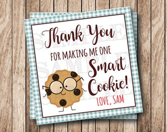 Printable One Smart Cookie Tags, Printable Thank You Tags, Printable Cookie Labels, Blue Gingham
