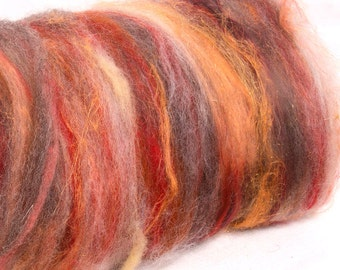 Carded batts, textured batts, Merino, gold sparkles, orange flax, OOAK, felting , batts, Grey Corriedale, Spinning fibre, 105g, Vesuvius