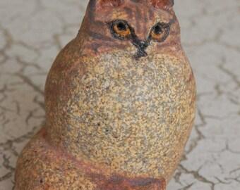 little fat tabby kitty cat figurine miniature statue in rugged stoneware