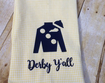 Yellow gingham hand towel with navy Jockey Silk, Kentucky Derby hand towel, Derby decor
