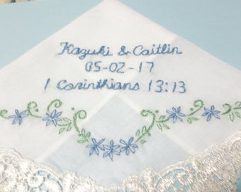 personalized, Bible verse, scripture hanky, wedding handkerchief, something blue, gift for bride, hand embroidered, bridal gift, wrap