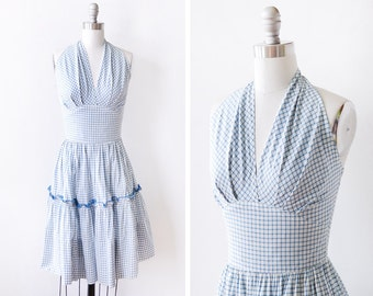 50s halter dress, 1950s blue and white plaid dress, vintage cotton sundress, extra small xs