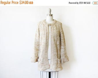 50% OFF SALE 70s cardigan, vintage space dyed cardigan sweater, oatmeal cream knit sweater