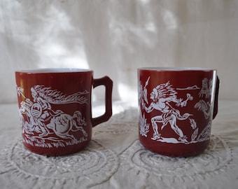 Indians At War Dark Red Milk Glass Mugs/Vintage 1950s/Hazel Atlas Mugs