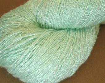 "Organic 100 % bamboo yarn ""Freshness"", vegan, hand dyed yarn, hand painted yarn, green, crochet, thread, weaving, lace weight, 7.1 oz oz"