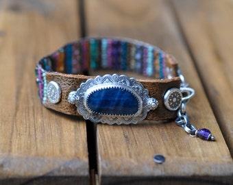 Sterling Silver Apatite Bracelet, Green Onyx Leather Beaded Bracelet, Silver Bead Woven Cuff Bracelet