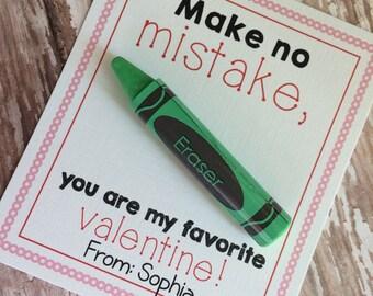 PRINTABLE DIY Eraser Valentine Favor Card