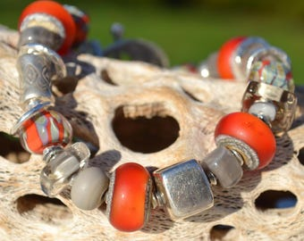 Reserve for Judy-SAND and FIRE-Handmade Lampwork and Sterling Silver Bracelet