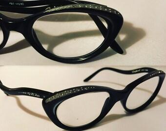 Cateye Glasses, Vintage Black Rhinestone Eyeglasses Raybert Black with Rhinestones on Temples Ladies Cat Eye Glasses