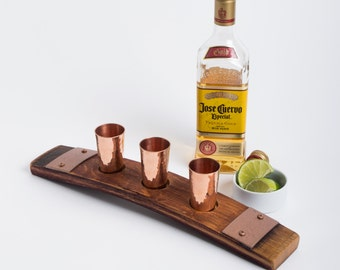 Wine Barrel Tequila Flight with Copper Shot Glasses