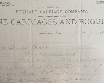 Antique Letterhead for the ECKHART CARRIAGE COMPANY, Auburn, Indiana  -- Free Shipping