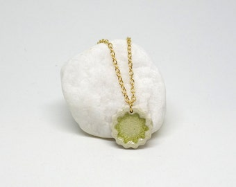 Ceramic Pendant Necklace: Lime Green Fused Glass Handmade Small White Stoneware Medallion with bright gold plated chain