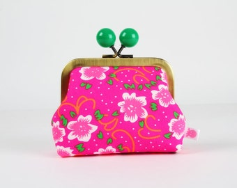 Metal frame coin purse with color bobble - Fiora rose - Color dad / Petit Pan french fabric / Neon orange green pink flowers
