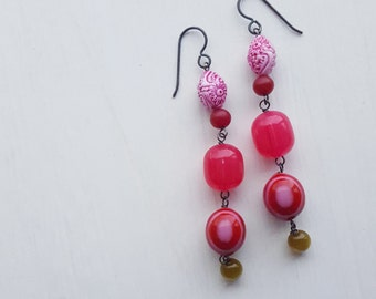 brighton rock - earrings - vintage lucite and sterling - pink green olive fuchsia - long dangly earrings