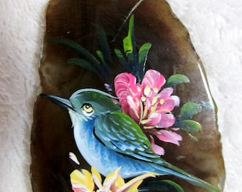 Blue Bird Floral Focal Pendant Bead Hand Painted Stone Slice for necklace