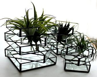 Unique Geometric Glass Terrariums/Candle Holder - Stained Glass Decor - Home Decor- 3 Sizes