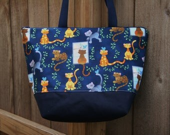 Playful Cats Kittens on Navy Insulated Lunch Bag-Tote-Eco-Friendly and Washable-Water and Mildew Resistant Interior
