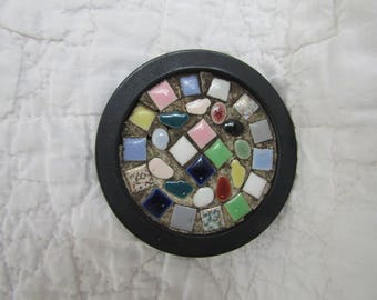 Vintage Tile Coaster Mosaic Signed Lisbeth Whiting SALE